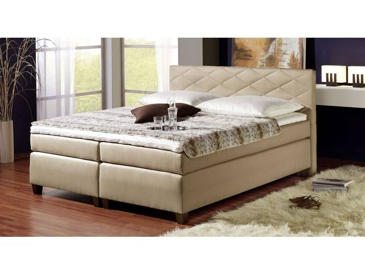 Photo of King size bed Nice – 100×200 cm – sand colored – hardness level H2 – boxspr