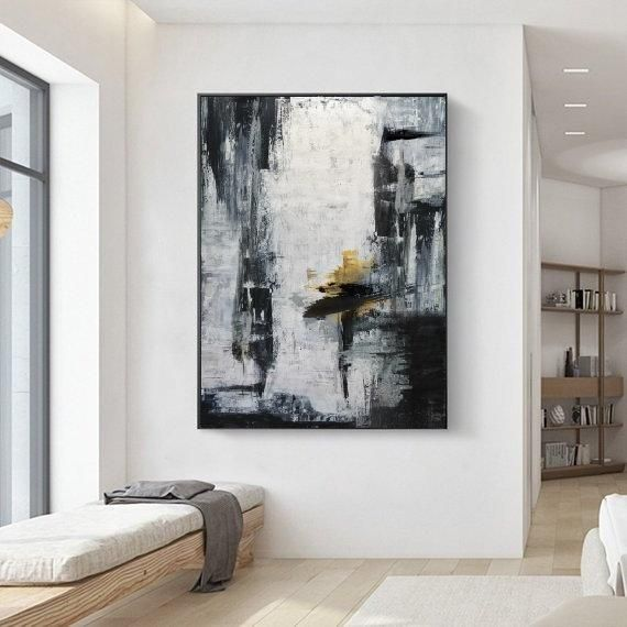 Gold Canvas Artblack White Paintinglarge Abstract Painting Etsy Abstract Painting Horizontal Wall Art Abstract Wall Art Living Room