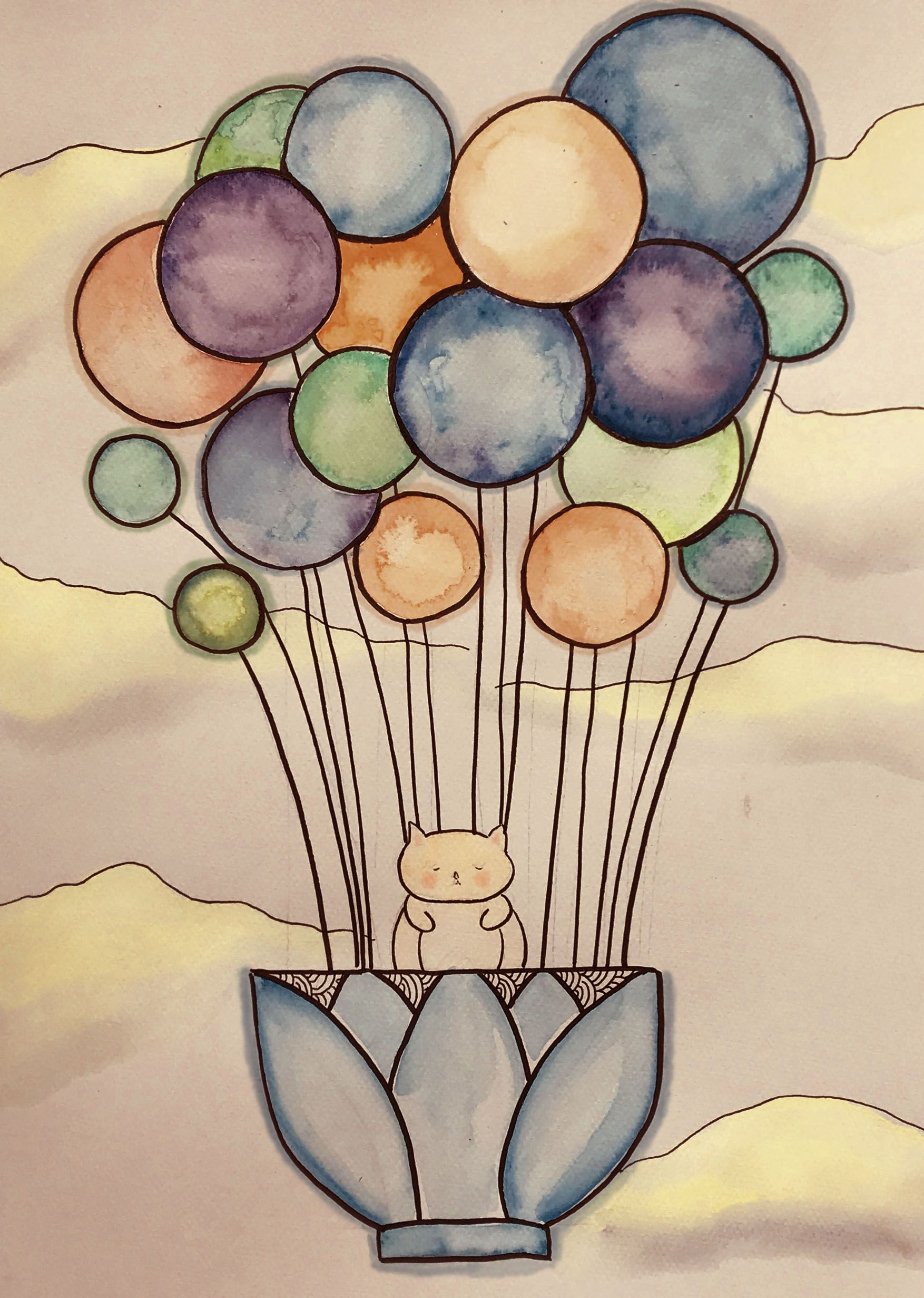 My New Water Color And Digital Artwork Balloons Watercolor