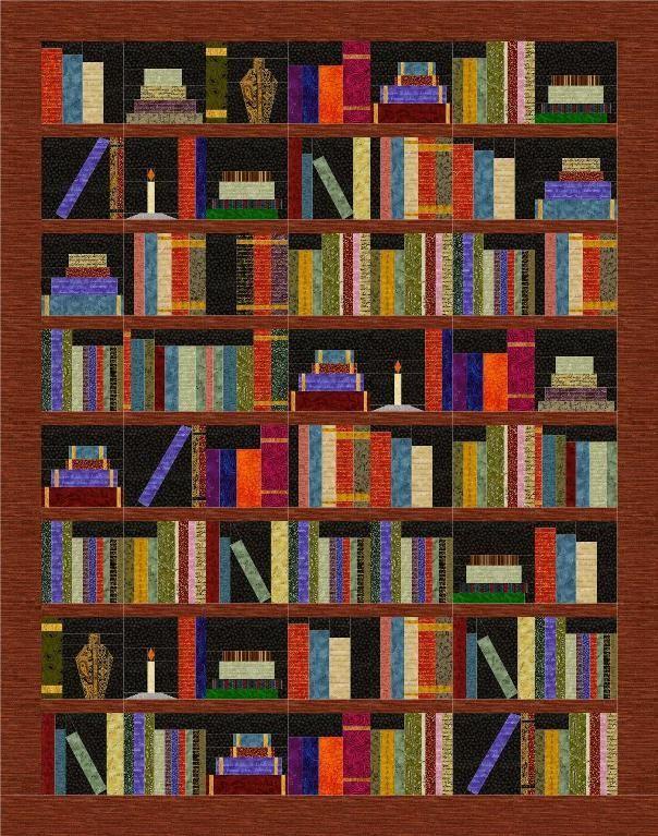 Bookshelf Quilt - PAPER PIECING PATTERN Paper piecing patterns and Paper piecing