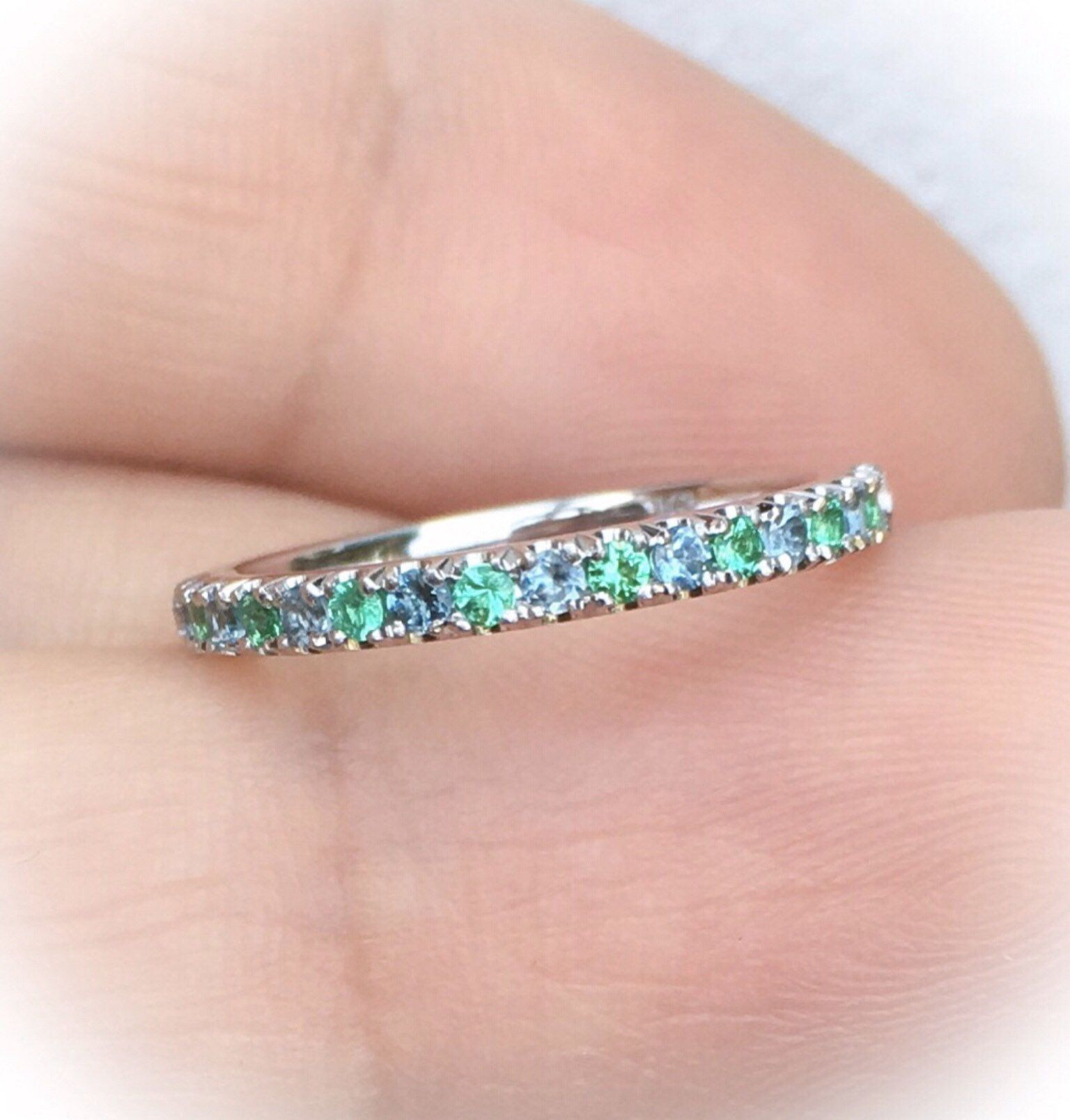 Emerald Topaz Half Eternity Pave Band Alternating Emerald and Blue ...