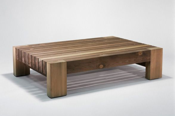 Marmol Radziner | Ranch Group Outdoor Coffee Table | Solid Douglas Fir Wtih  Sulfur Green Finish
