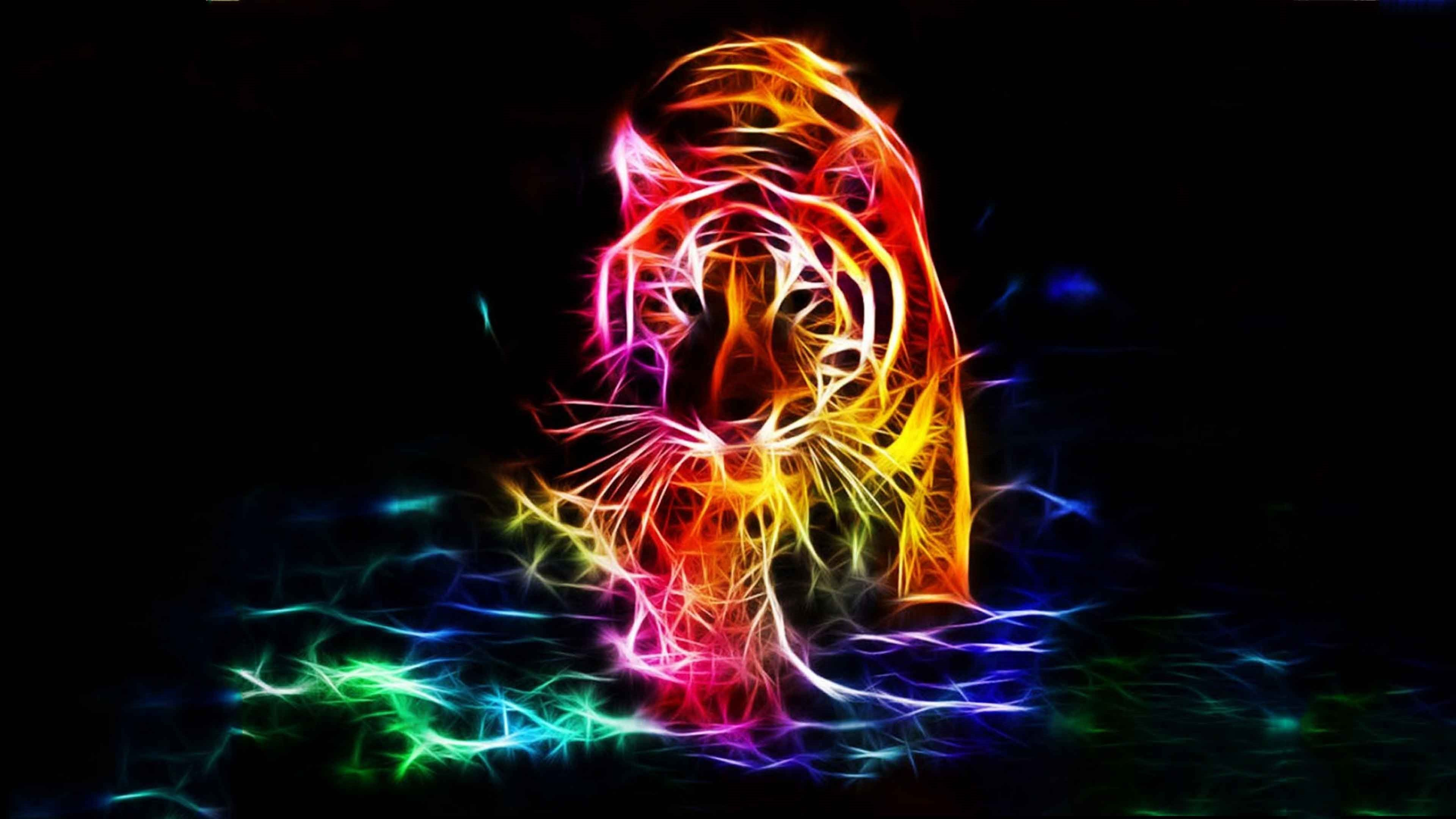 3d Walking Tiger Color 4k Background Wallpapers