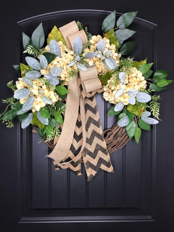 Wreath Gift ideas Christmas Gift -Chevron Burlap Monogrammed Wreath -Gifts Wreaths-Hydrangea Wreath Spring Wreath Summer Wreath