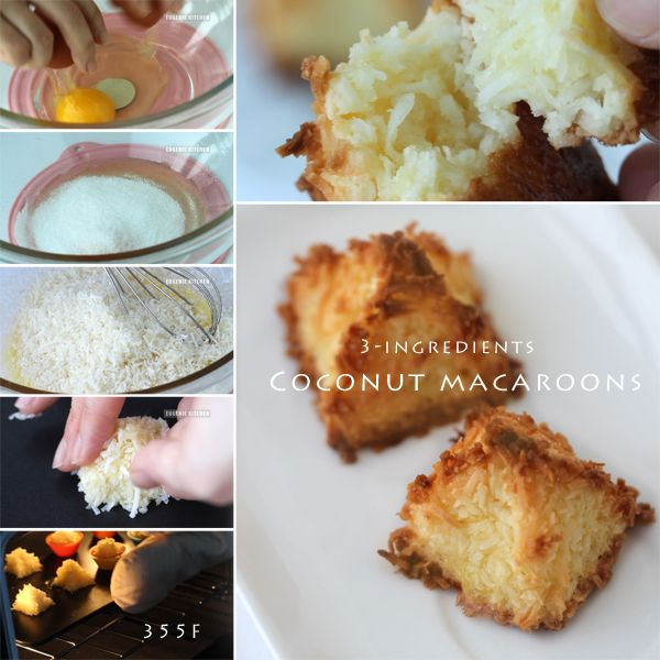 Coconut Macaroons Recipe, Congolais, Rochers à la noix de coco