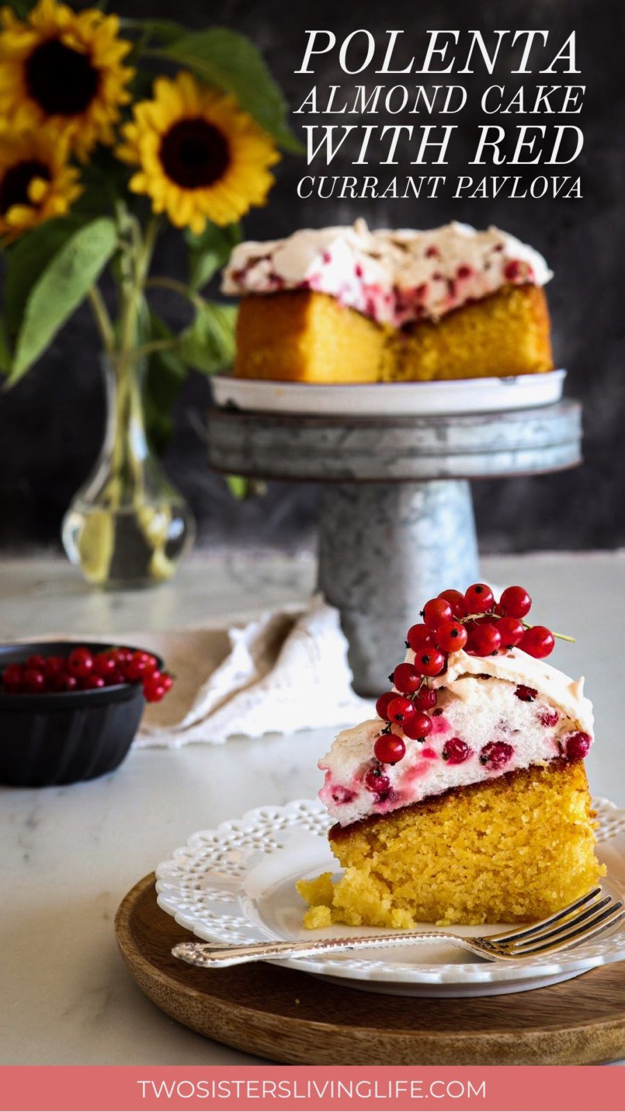 This is a delicious recipe for a Polenta Almond Lemon Cake with Red Currants Pavlova Crown. It's ideal for special occasions and gluten-free.