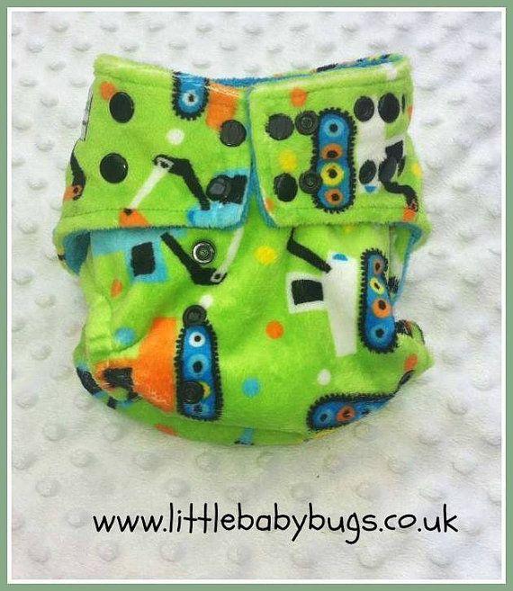 Lime Green Orange Diggers Cloth Nappy / by LittleBabybugsLtd, £15.00
