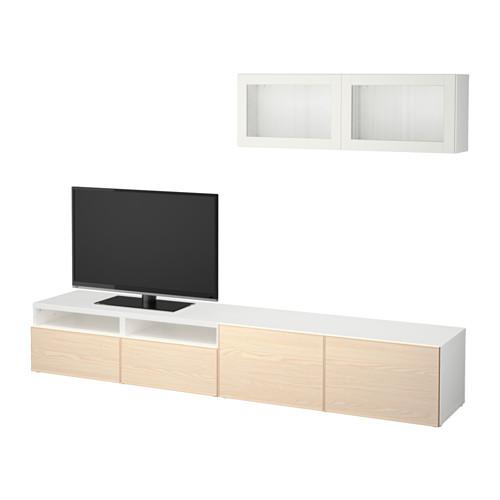 BESTÅ Mueble TV con almacenaje, blanco Sindvik, Inviken chapa fresno ...