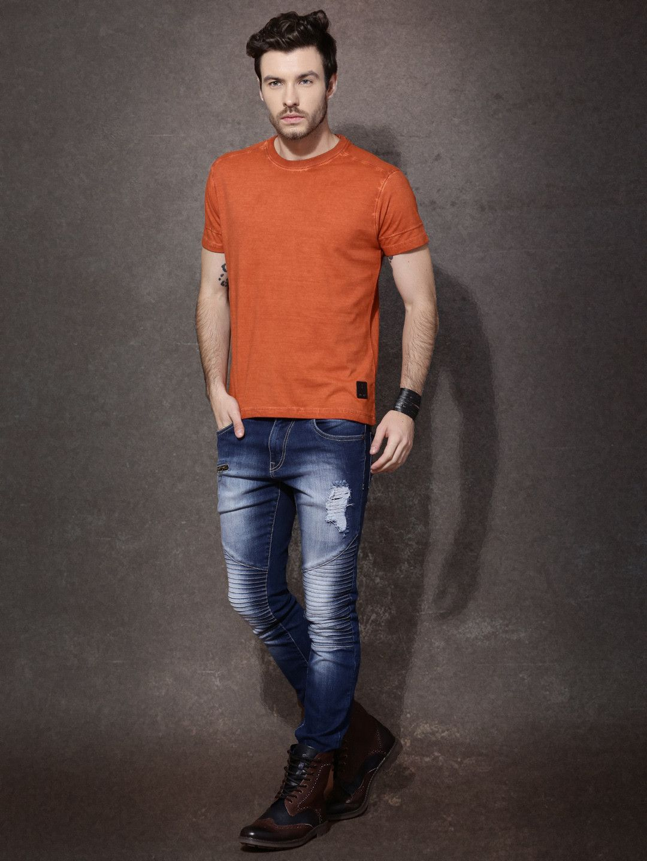 27aaad8d RDSTR Men Rust Orange Solid Round Neck T Shirt #roadster #solid #orange