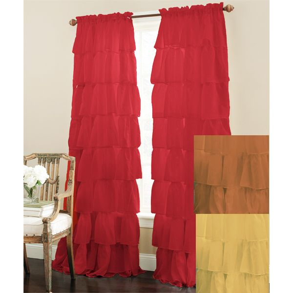 Gypsy Shabby Chic Semi Sheer Ruffled Window Curtain Panel