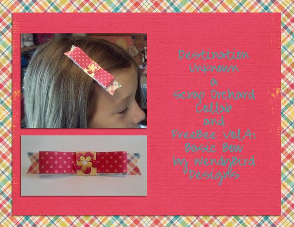 hybrid hair bow by Melissa using Destination: Unknown {Store Collaboration} by Scrap Orchard Designers and September 1: Hybrid Challenge by Wendybird Designs
