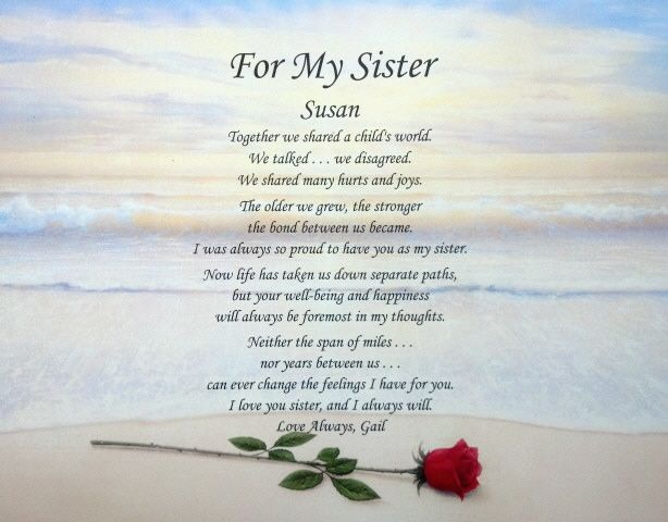 Loss Of A Sister Poem Sister Personalized Poem Sister