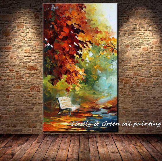 Aliexpress.com: Comprar Grande pintado a mano abstracta moderna de la pared pintura Rain Tree Road espátula pintura al óleo sobre lienzo de pared decoración la decoración del hogar de Imágenes de la pintura decorativa fiable proveedores en Lovely Arts home: