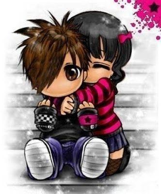 Abrazo Pareja Emo Emo Cartoons Emo Couples Emo Love