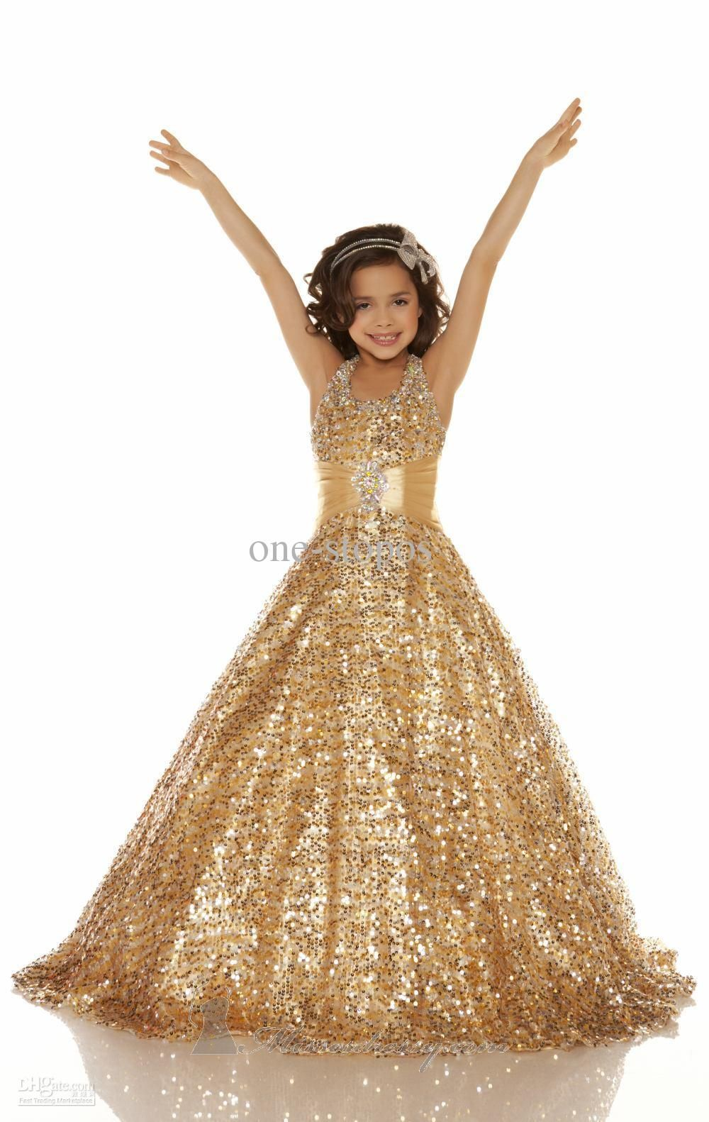 Hot Halter Sequins Lace Gold Ball gown Beads Glitz pageant dresses ...