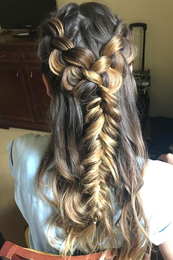 side plait wedding hairstyles,hairstyle ideas for bride,wedding hair ideas,fishtail bridal hairstyle for bohemian brides