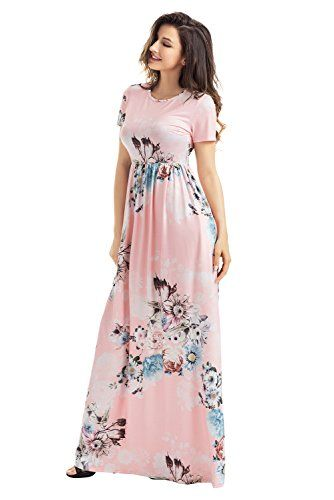 Women Floral Print Round Neck Cap Sleeve Maxi Casual Dress Small