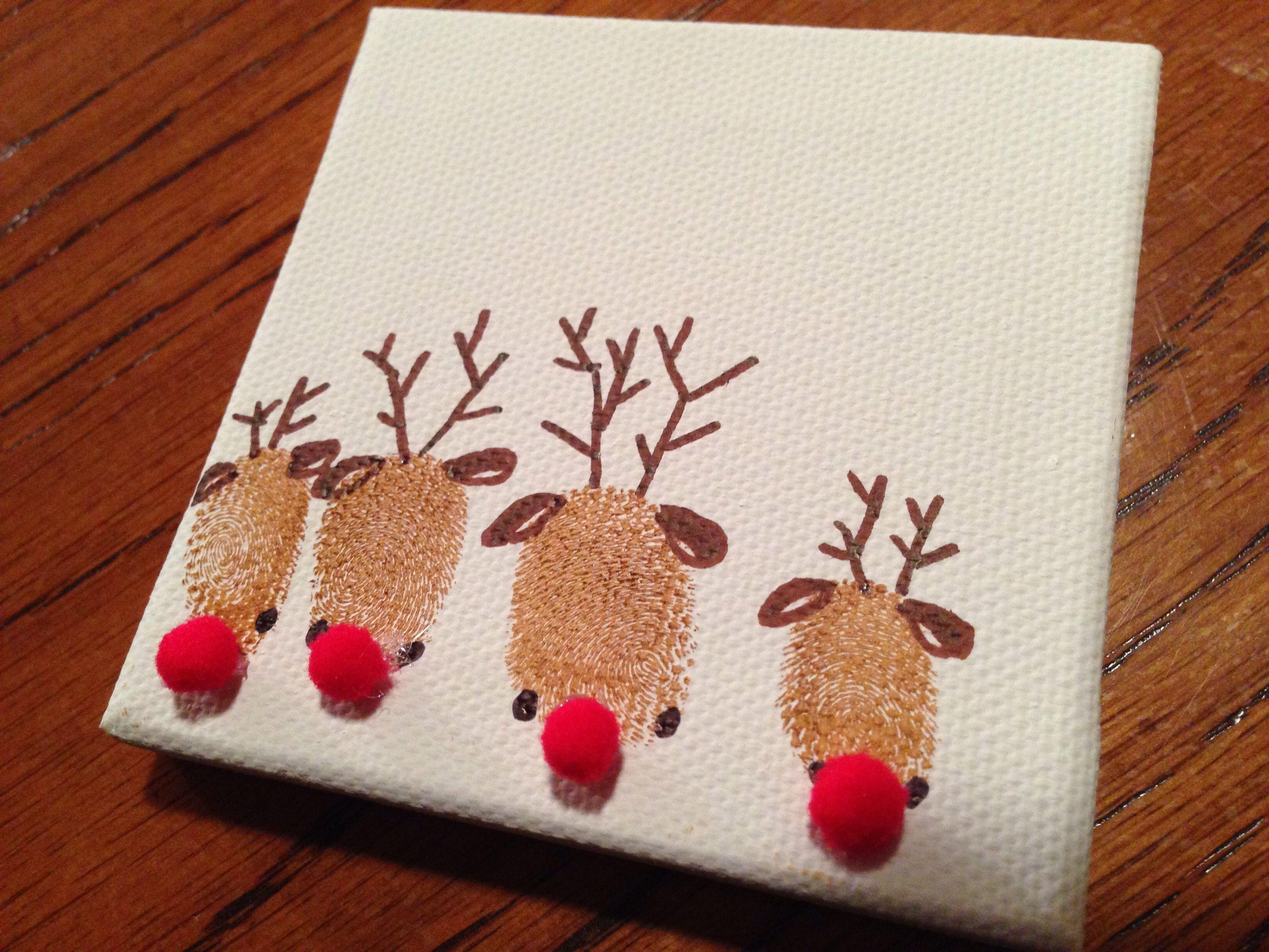 Reign deer fingerprint art Christmas Pinterest