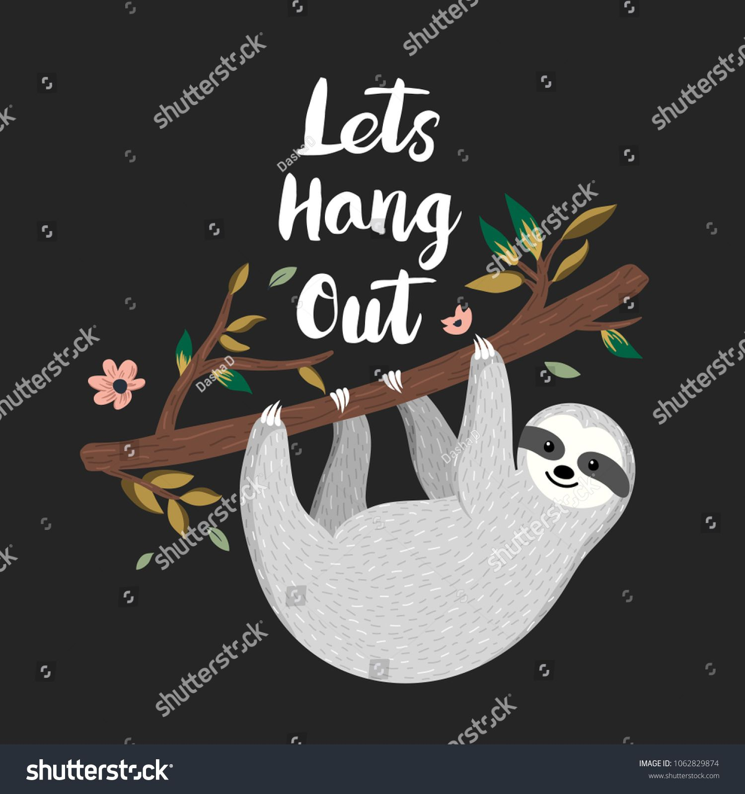 Lets hang out. Cute baby sloth hanging on the tree