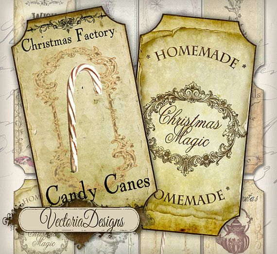 Christmas Jar Labels Bottle Tags printable by VectoriaDesigns, $2.80