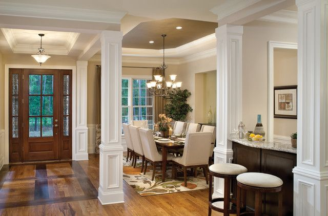 Open Dining Room With Columns   Google Search | House Goodies | Pinterest |  White Futon, Curtain Door And Dining Room Design
