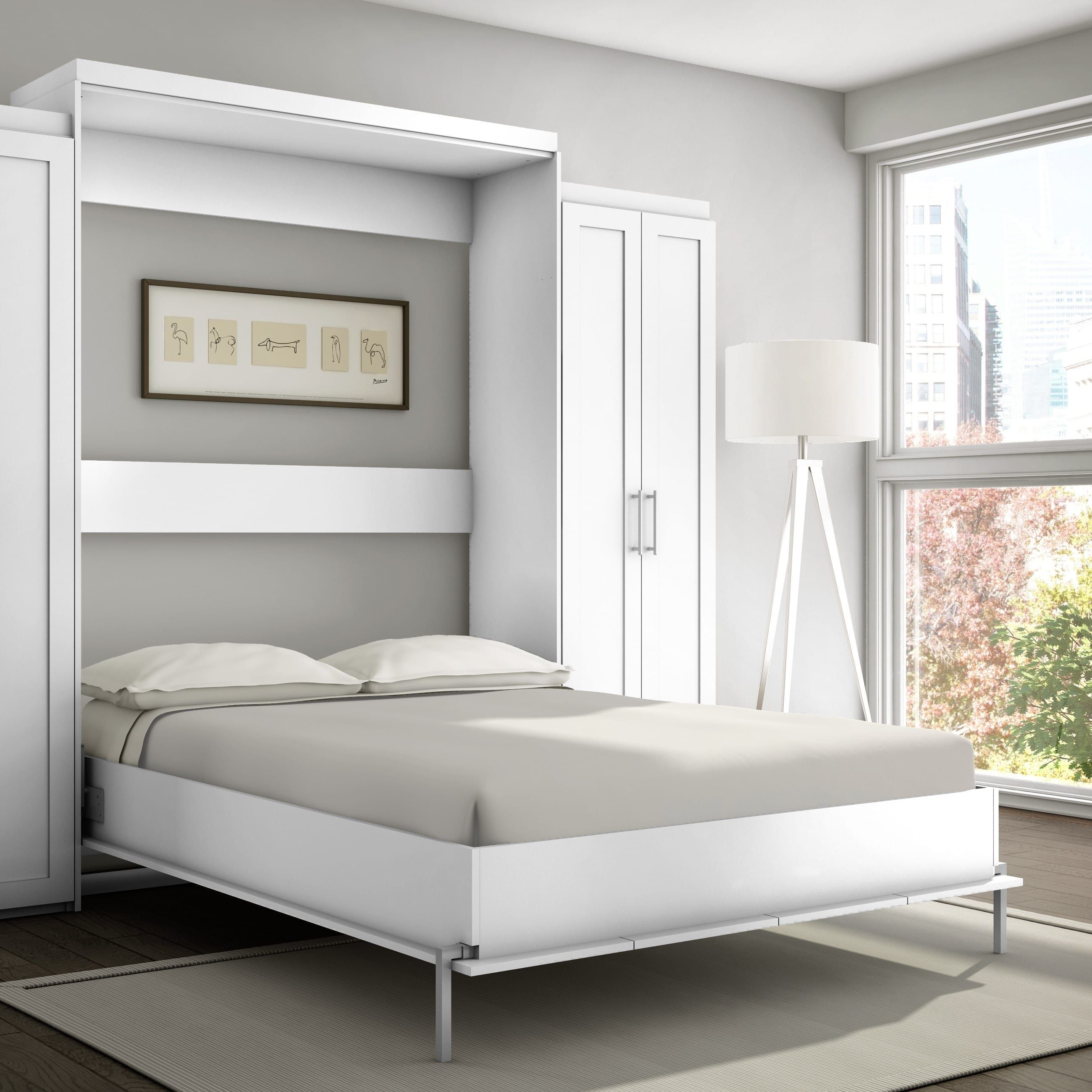 Stellar home furniture shaker queen wall bed off white in
