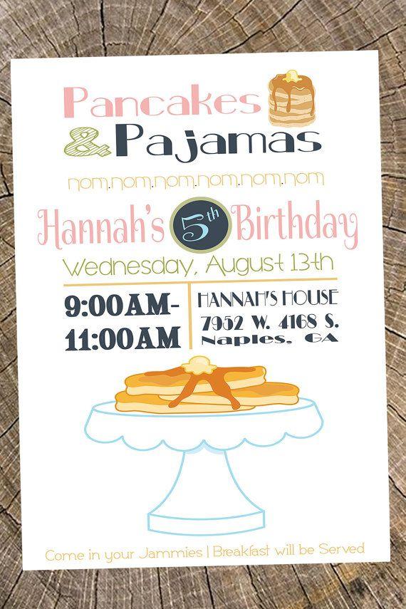 Pancakes & Pajamas Party Invitation (Birthday, Girl\'s Night Out ...
