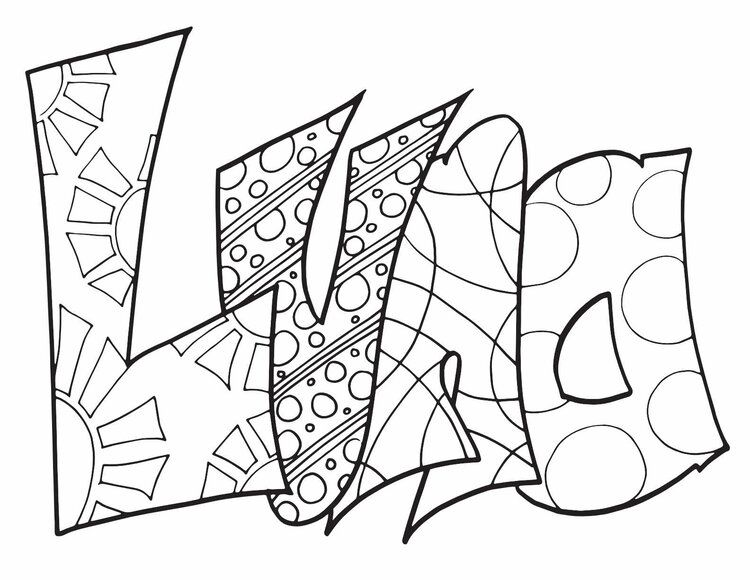 LUNA CLASSIC DOODLE - Free Coloring Page — Stevie Doodles  Name
