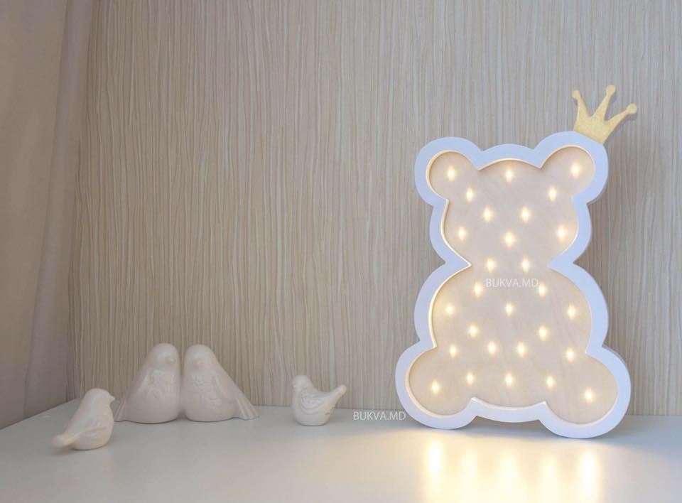 lighting for baby room. bear with crown battery operated light marquee lights babyshower baby room decor lighting for y
