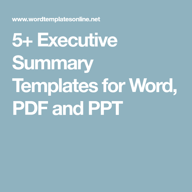 Executive Summary Templates For Word Pdf And Ppt  Nursing