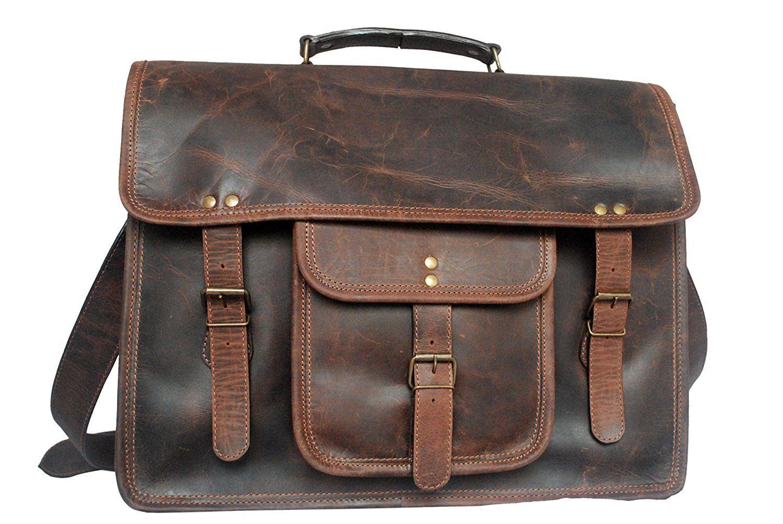 77cb18f2bb7c Retro Style Genuine Leather Laptop Messenger Bag gift for men women ...