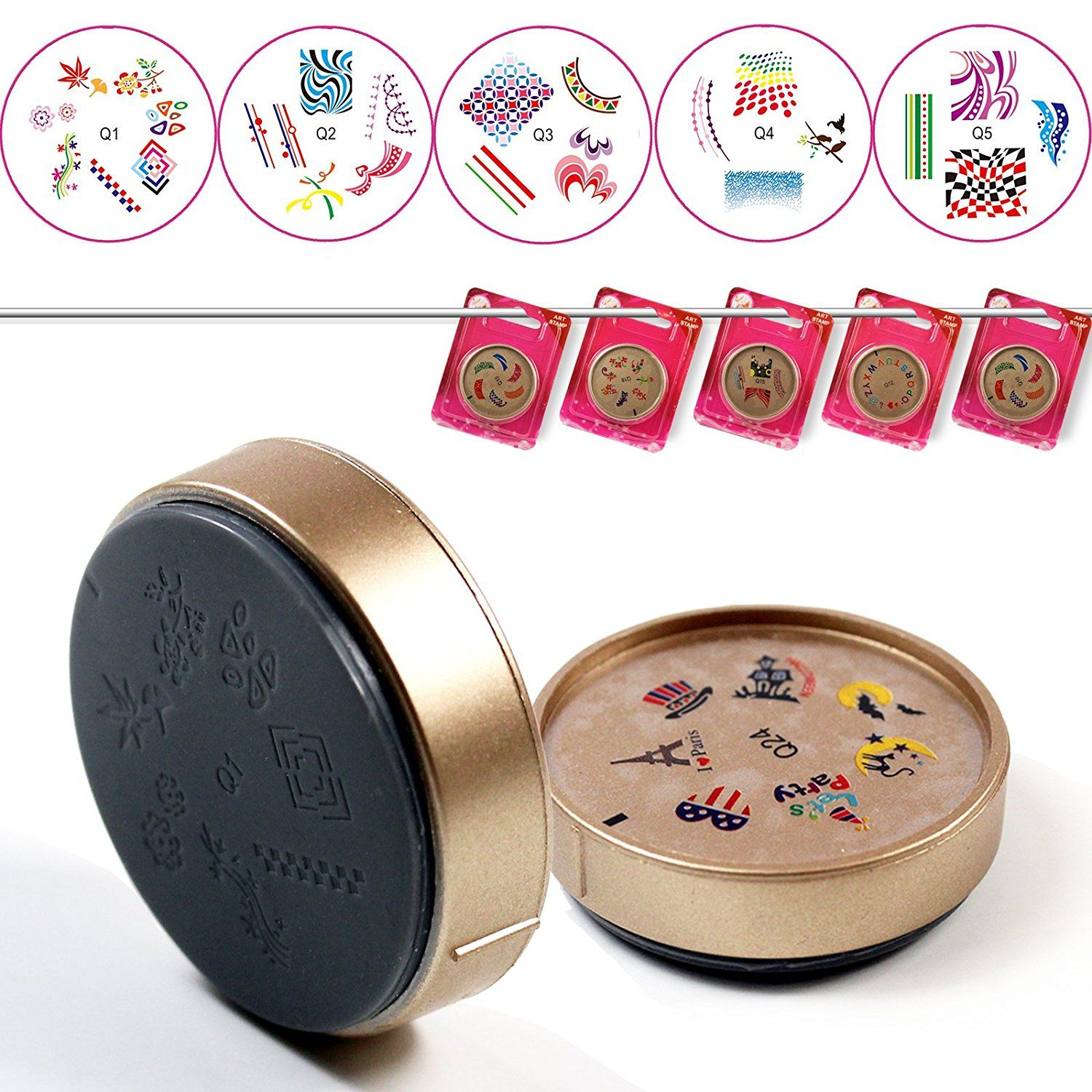 PrefectSummer 5pcs DIY Nail Art Nailart Polish Mix styles Image Stamping Manicure silicone seal Plates -01 *** More info could be found at the image url.