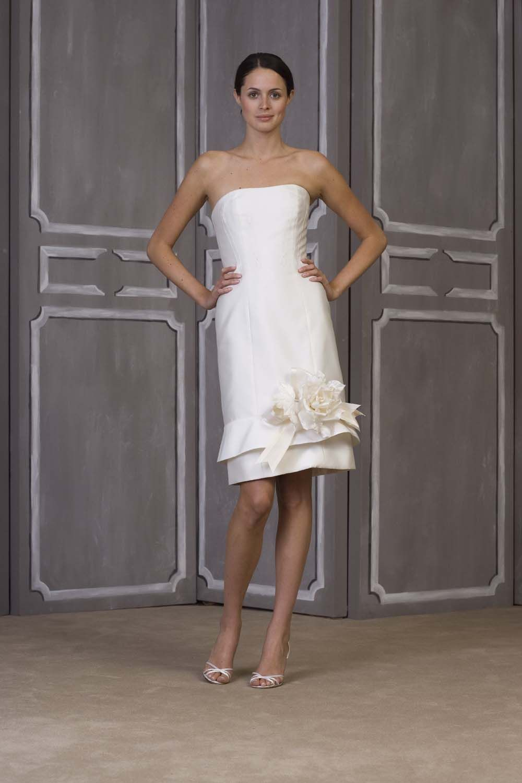 Decent White Strapless Satin Column Style Flower Knee-Length Wedding ...