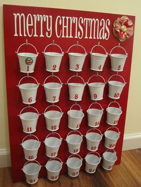 Dollar store advent calendar advent calendars dollar stores and bucket advent calendar made with dollar store wedding buckets solutioingenieria Image collections