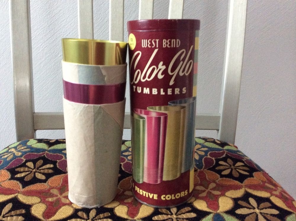 4 vintage west bend color glo aluminum tumblers new in box