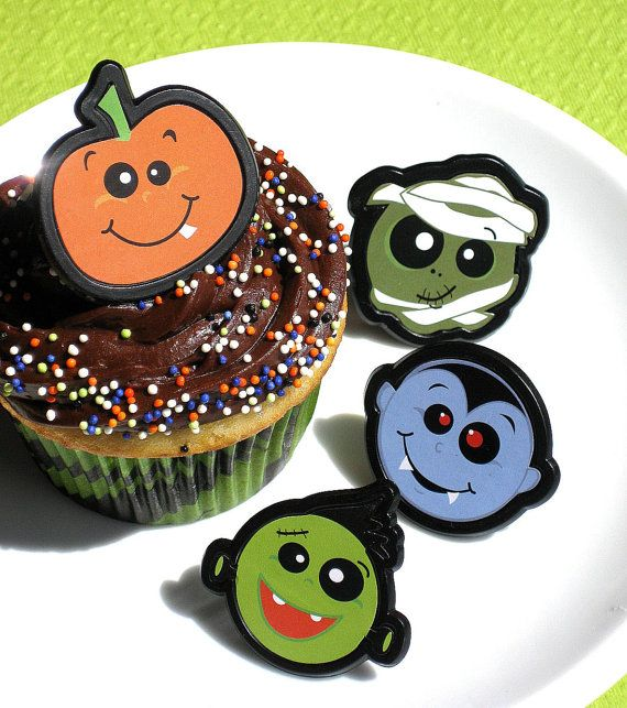 Halloween Cupcake Ring Toppers in 4 by thebakersconfections, $4.00