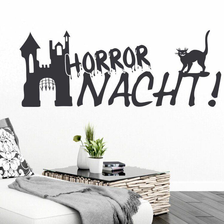 Wandtattoo Horror Nacht, Katze, Schloss