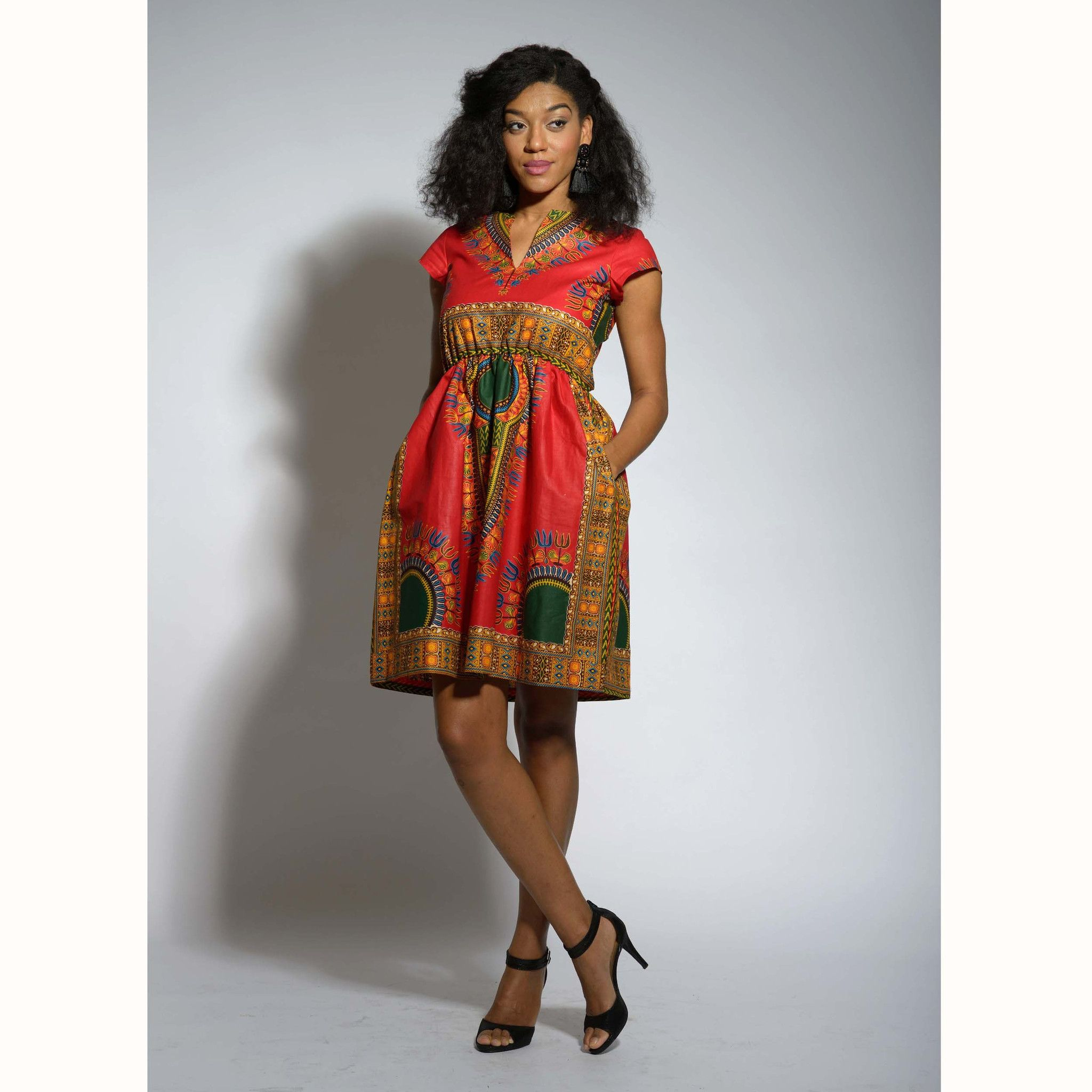 Amaka Dashiki African Print Dress (Red)