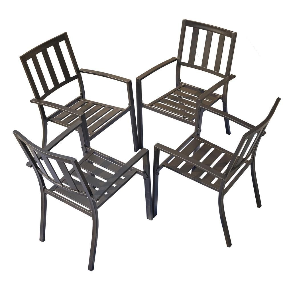Patio Festival Metal Outdoor Dining Chair 4 Set Pf19271