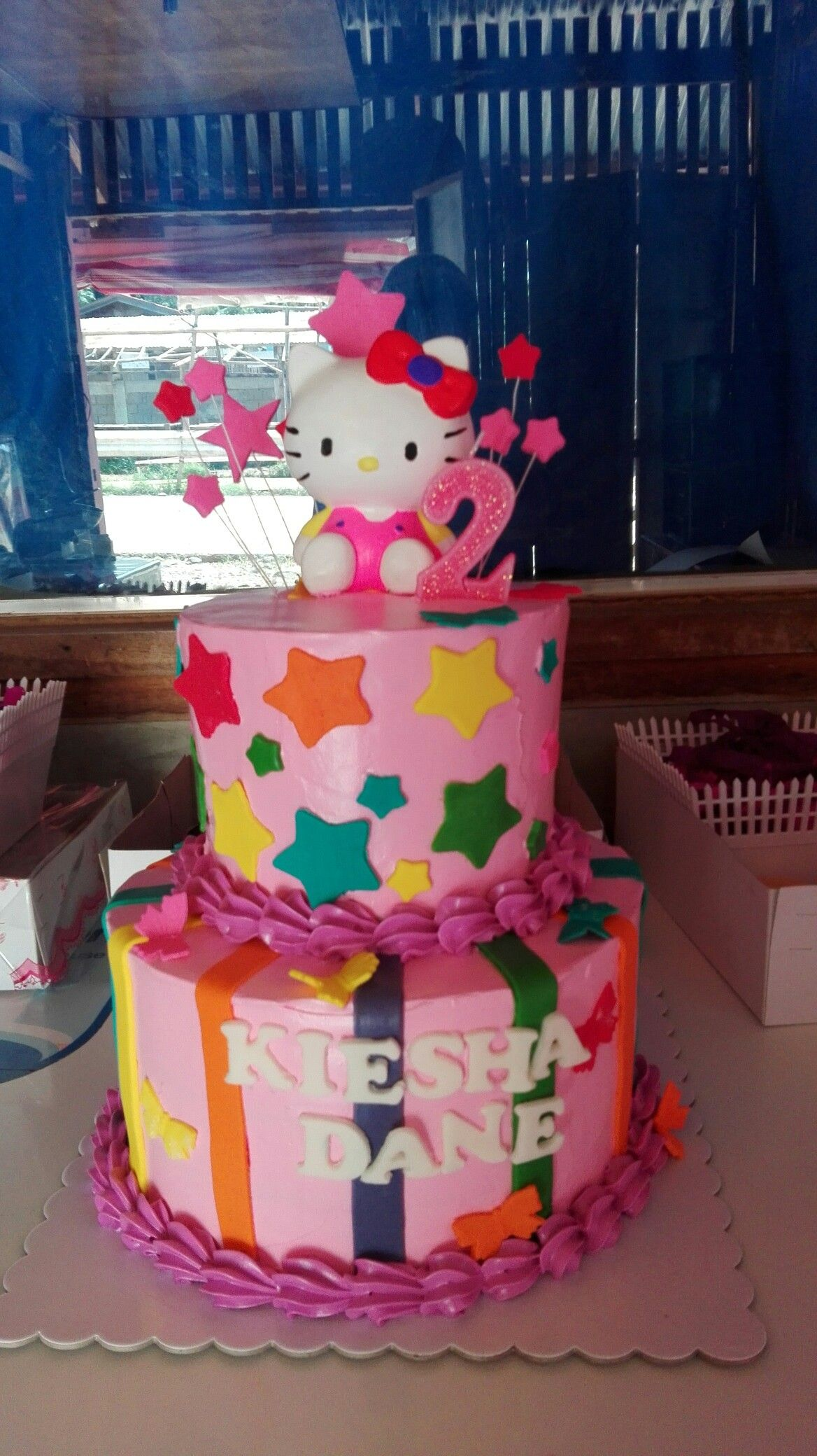 Hello Kitty Theme Cake Boiled Icing And Fondant For The Details