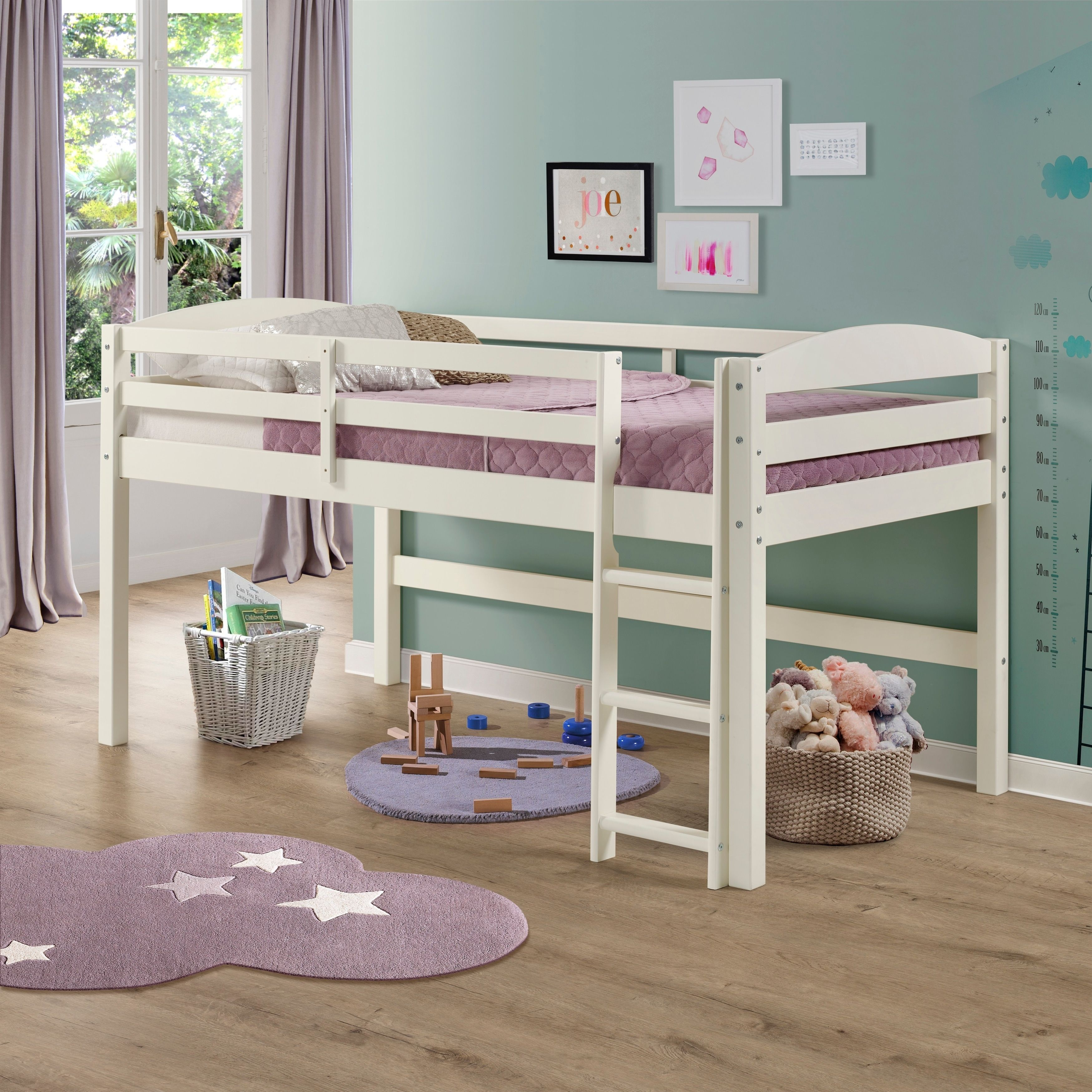Grey loft bed with desk  Solid Wood Low Loft Twin Bed Grey  Grey Finish  Loft twin bed