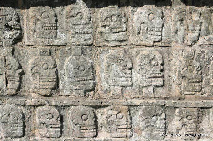Wall of Skulls Tzompantli, Chichen Itza - Mexico