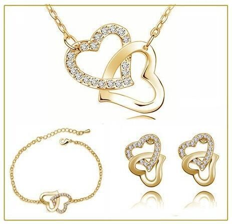 Double heart rhinestones fashion necklace earrings Jewelry Sets - silver darkblue