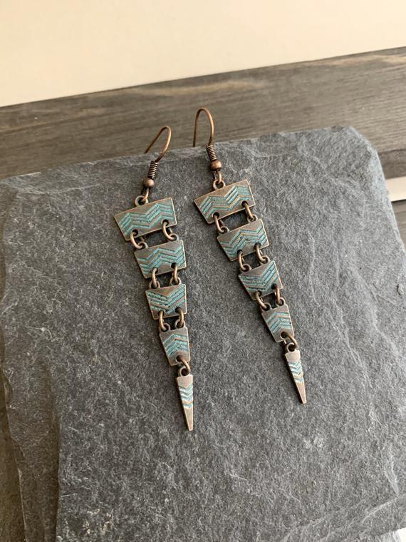 Vintage Boho Ethnic Antique Long Triangle earrings Copper Dangle Drop Earrings Hanging Statement ear