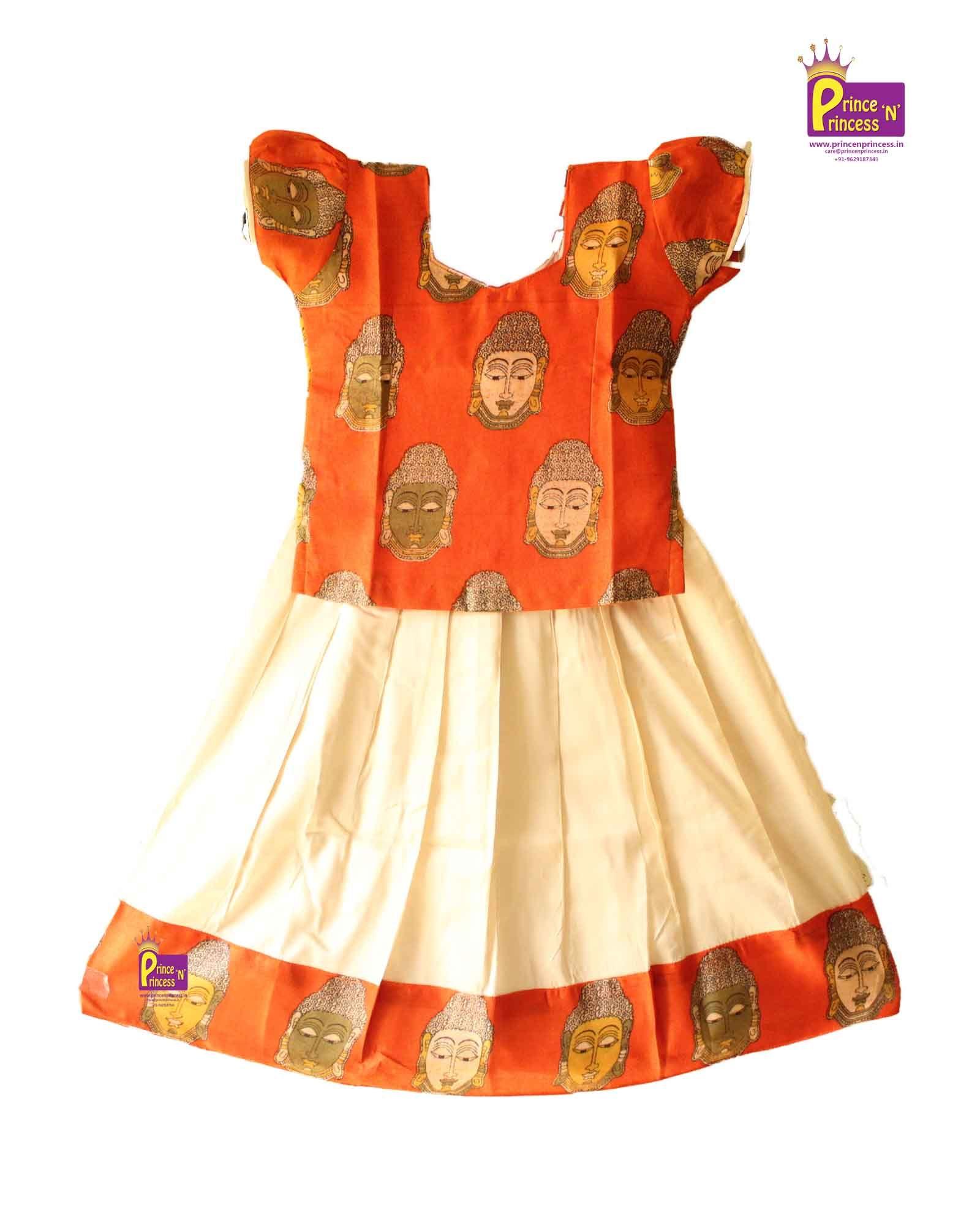 Kids Orange Cream Kalamkari pattu Pavadai Langa with