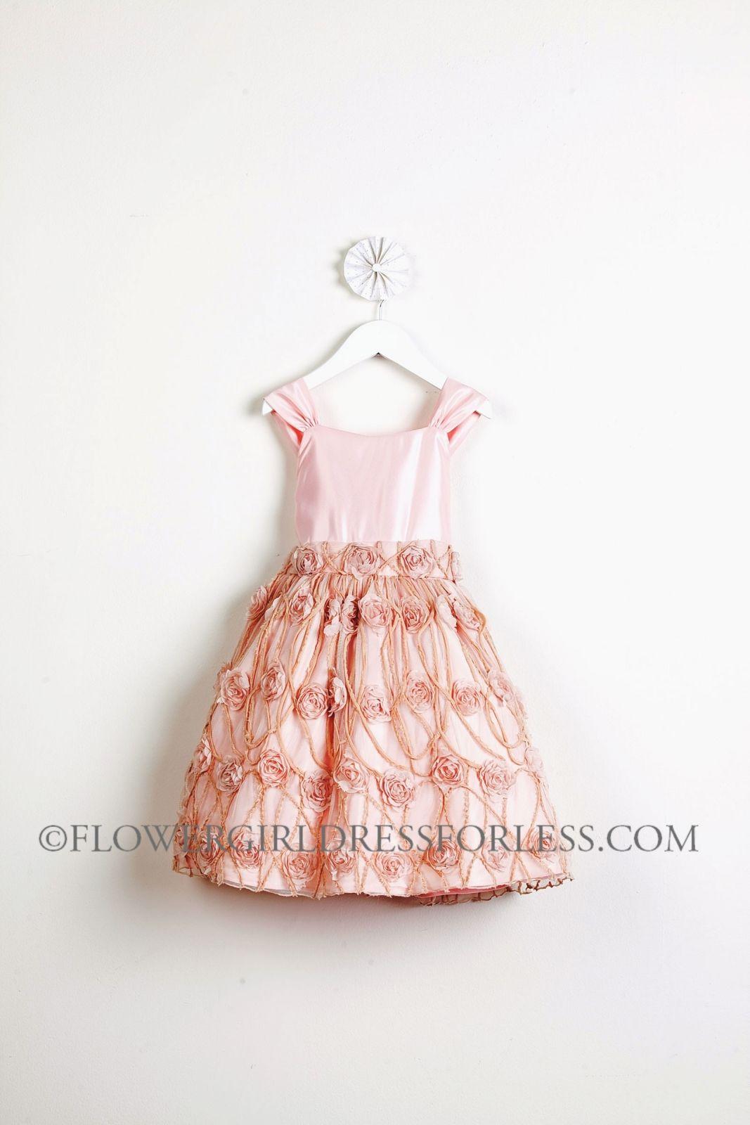Sk476p Girls Dress Style 476 Satin And Rose Vine Mesh Dress