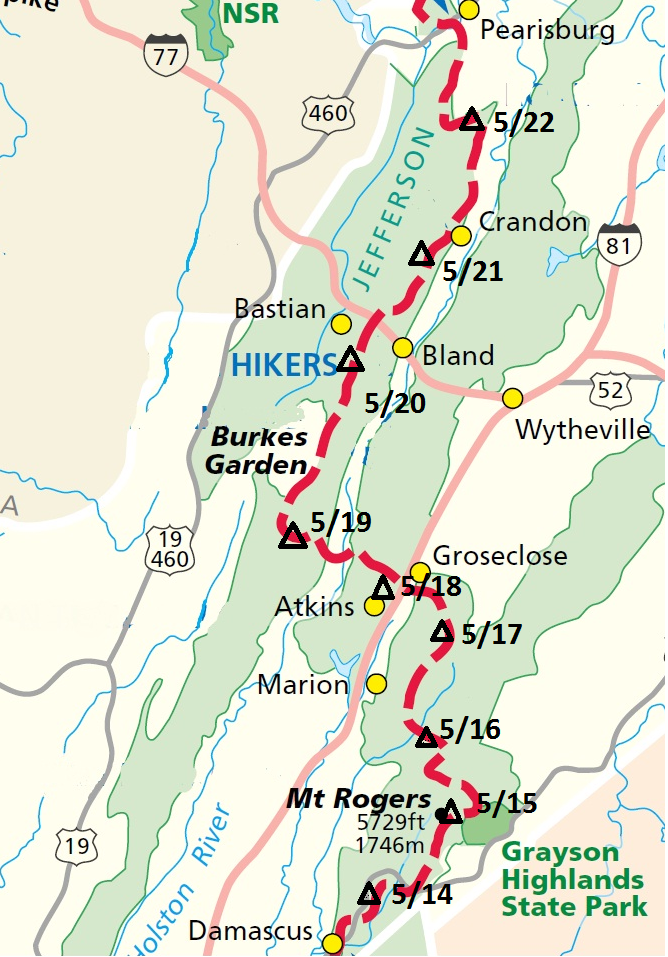 Ken\'s route on the AT | Staying Connected on the Appalachian Trail ...