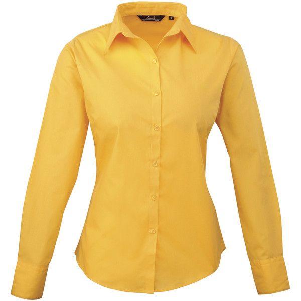 7063f3859ebbc Premier Womens Ladies Poplin Long Sleeve Blouse Plain Work Shirt ❤ liked on  Polyvore featuring