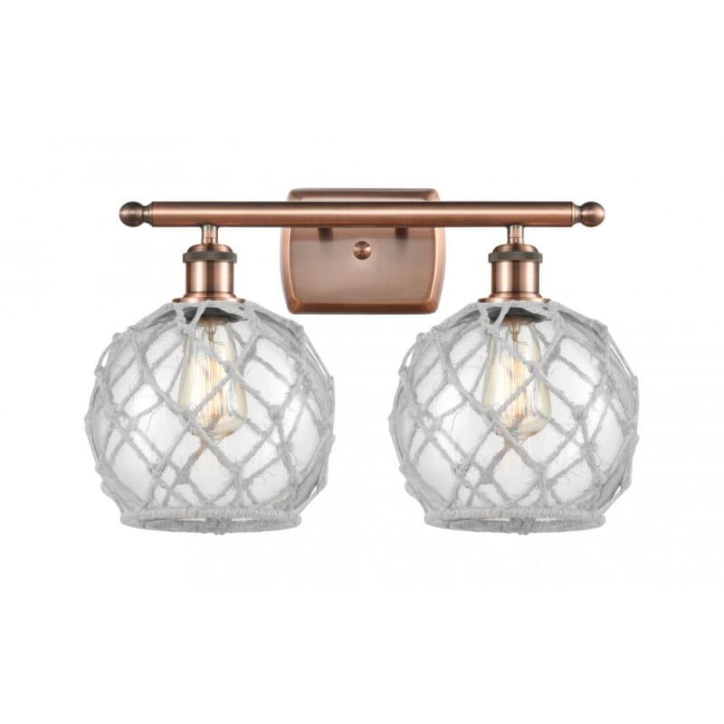 "Photo of Innovations lighting 516-2W farmhouse rope farmhouse rope 2 lights 16 ""wide vanit antique copper / clear / white interior lighting bathroom fittings"