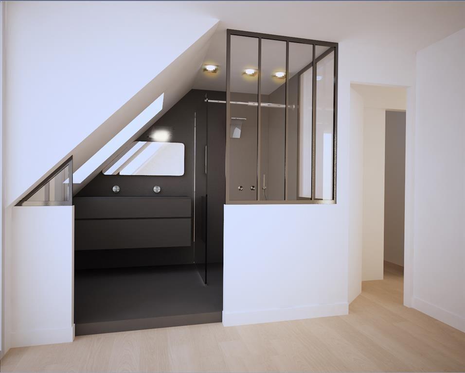 Image un douche vitr e sur la chambre donne une impression d un projets essayer salle de - Douche italienne dans une chambre ...